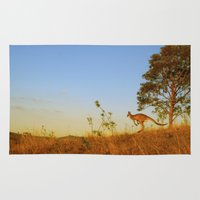 kangaroo Area & Throw Rugs featuring Kangaroo  by Pippa Selby
