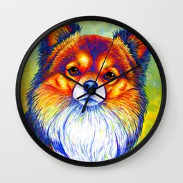 Colorful Long Haired Chihuahua Dog Wall Clock