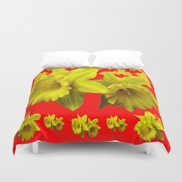 RED & YELLOW DAFFODILS GARDEN ART Duvet Cover