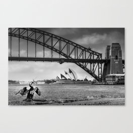 Bridge's, Bird's and Opera Houses Canvas Print