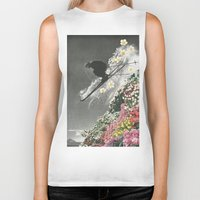 skiing Biker Tanks featuring Spring Skiing by Sarah Eisenlohr