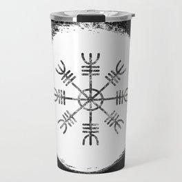 Black and White Helm of Awe   Aegishjalmur Icelandic Stave Travel Mug