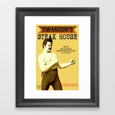 Ron Swanson  |  Steak House Parody |  Parks and Recreation Framed Art Print
