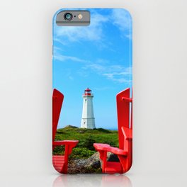 Lighthouse and chairs in Red White and Blue iPhone Case