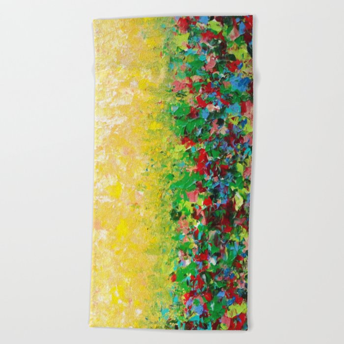 NATURE'S LIVING ROOM - Gorgeous Bright Bold Nature Wildflower Field Landscape Abstract Art New 2012 Beach Towel