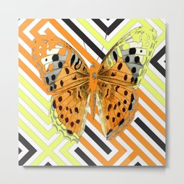 MODERN BUTTERFLY ORANGE-YELLOW GRAPHIC ART Metal Print
