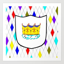 A Stained Glass Window with Shield and Crown Art Print