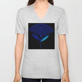 Mid Century Modern Dandelion Seed Head In Princess Blue Unisex V-Neck