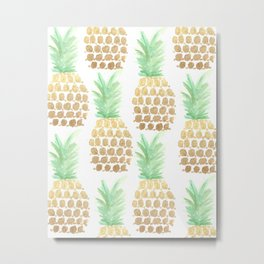 24K Gold Pineapples Metal Print