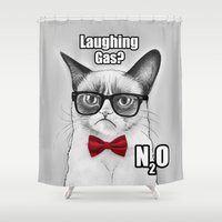 chemistry Shower Curtains featuring Grumpy Chemistry Cat by Olechka