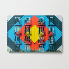 APARTMENTS - BLUE - RED - YELLOW - BALCONIES - PHOTOGRAPHY Metal Print