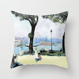 East River Park - william james glackens Throw Pillow