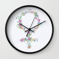 feminist Wall Clocks featuring Feminist flower by Mikaela Puranen