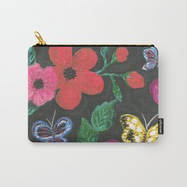 Garden at night - flowers in dark background Carry-All Pouch