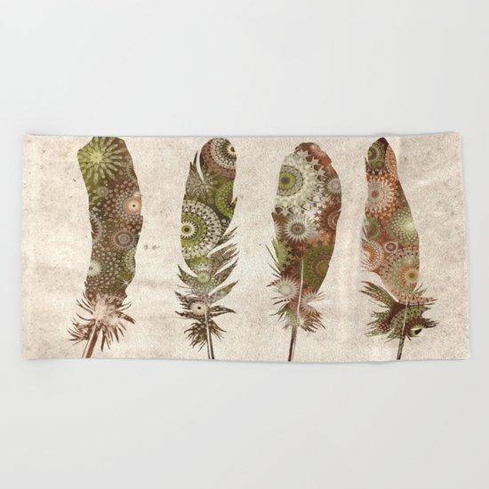 vintage mandala feathers Beach Towel