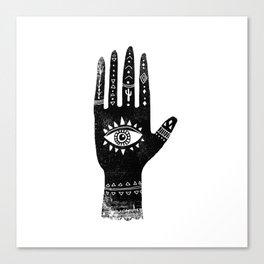 Hand with eye linocut black and white minimal boho third eye hamsa Canvas Print