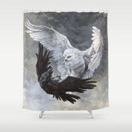 Yin Yang Owl and Raven Shower Curtain