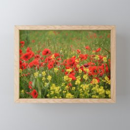 Red poppies on a background of yellow flowers and green grass. Framed Mini Art Print
