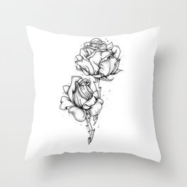Dotwork Roses Throw Pillow