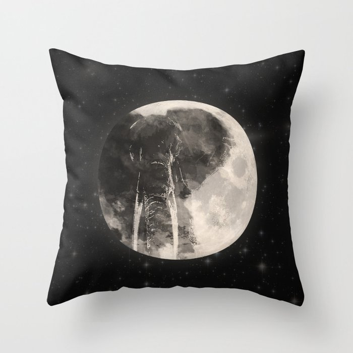 The Elephant in The Moon Throw Pillow