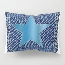 Star Denim Pocket Pillow Sham