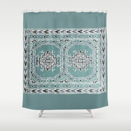 Traditional rug in denim blue Shower Curtain