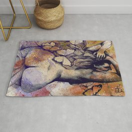 Sugar Coated Sour: Autumn (nude curvy pin up with butterflies) Rug