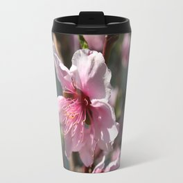 Close Up of Peach Tree Blossom Travel Mug