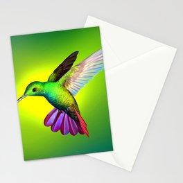 Amazing Fantastic Colorful Exotic Kolibri Humming Bird Hovering Close Up Ultra HD Stationery Cards