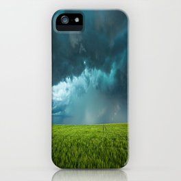 April Showers - Colorful Stormy Sky Over Lush Field in Kansas iPhone Case