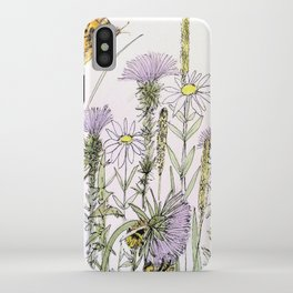 Bees Butterfly Thistle Watercolor Illustration Nature Art iPhone Case