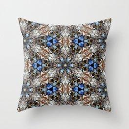 River Birch bark with blue sky kaleidoscope Throw Pillow