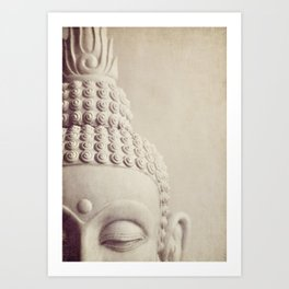 Cropped Buddha head statue. Art Print