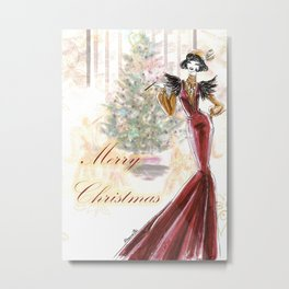 Merry Stylish Christmas Metal Print