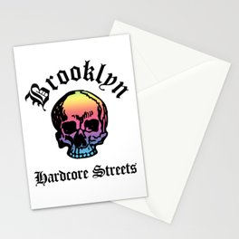 Brooklyn New York City Hardcore Streets Urban Streetwear Spectrum Skull, Super Sharp PNG Stationery Cards
