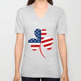 USA American Flag Of Shamrock St. Patrick's Day Irish Unisex V-Neck
