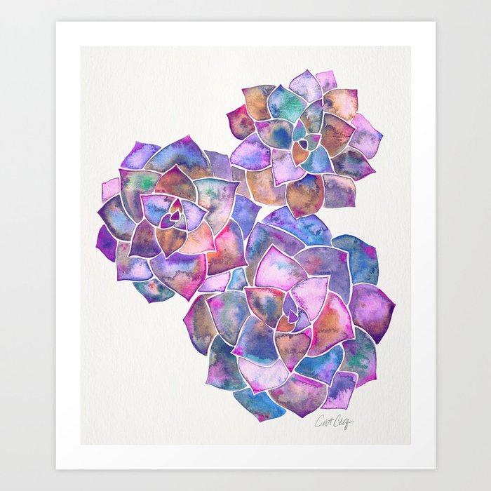 Rosette Succulents – Galaxy Palette Art Print