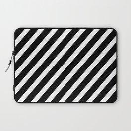 Black and White Diagonal Stripes Laptop Sleeve