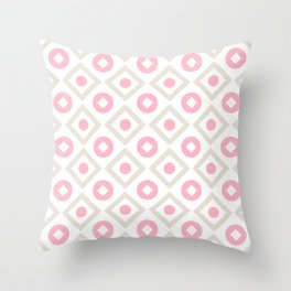 Pink pastel pattern of rhombuses and circles Throw Pillow