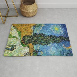 Road with Cypress and Star by Vincent van Gogh Rug