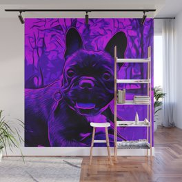 french bulldog basketball vector art purple Wall Mural