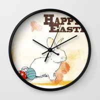 easter Wall Clocks featuring Easter by Michelle Krasny