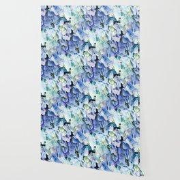 Soft Tri-Color Pastel Hydrangea Wallpaper