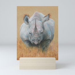 RHINOCEROS Wildlife African animal Safari style Realistic pastel drawing Mini Art Print