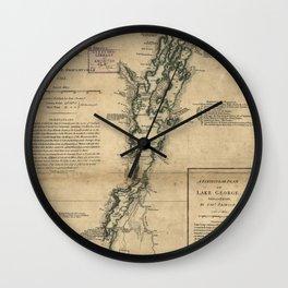 Vintage Map of Lake Champlain & Lake George (1776) Wall Clock