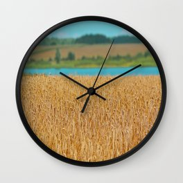 Golden Corn by the Turquoise Water Wall Clock