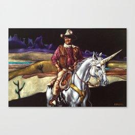 Black Velvet John Wayne Riding a Unicorn Canvas Print