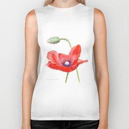 Red Poppy by Teresa Thompson Biker Tank