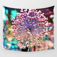 bee Wall Tapestries featuring Pastel Allium N Bee by minx267
