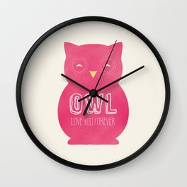 Owl love you forever - Pink Owl Wall Clock